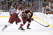 Petr Placek (Harvard - 27), Isaac MacLeod (BC - 7) - The Boston College Eagles defeated the Harvard University Crimson 4-1 in the opening round of the 2013 Beanpot tournament on Monday, February 4, 2013, at TD Garden in Boston, Massachusetts.