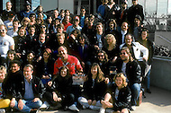 """Los Angeles, U.S.A, 1989. Family picture of the crew during the filming of the movie """"Why Me?"""" with Christopher Lambert."""