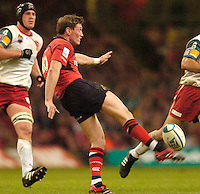 Cardiff, WALES.  Ronan O'Gara kicking clear during the  2006 Heineken Cup Final,  Millennium Stadium,  between Biarritz Olympique and Munster,  20.05.2006. © Peter Spurrier/Intersport-images.com,  / Mobile +44 [0] 7973 819 551 / email images@intersport-images.com.   [Mandatory Credit, Peter Spurier/ Intersport Images].14.05.2006   [Mandatory Credit, Peter Spurier/ Intersport Images].