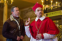 London, UK. 14.01.2014. The new Sam Wanamaker Playhouse, at Shakespeare's Globe, opens with The Duchess of Malfi, by John Webster, directed by Dominic Dromgoole. Picture shows: Sean Gilder (Bosola) and James Garnon (Cardinal). Photograph © Jane Hobson.