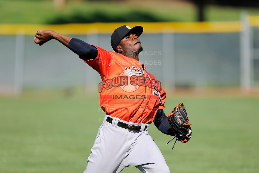 Pitcher Jose Montero (52) of the Greeneville Astros warms up before a game against the Bristol Pirates on Saturday, July 26, 2014, at DeVault Memorial Stadium in Bristol, Virginia. Greeneville won, 2-1 in Game 1 of a doubleheader. (Tom Priddy/Four Seam Images)