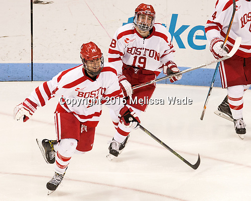 Bobo Carpenter (BU - 14), Clayton Keller (BU - 19) The Boston University Terriers defeated the visiting Yale University Bulldogs 5-2 on Tuesday, December 13, 2016, at the Agganis Arena in Boston, Massachusetts.