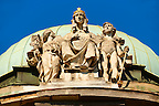 Art Nouveau statues on the roof of the Ethnography museum, Zagreb, Croatia
