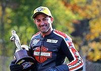 Oct 5, 2014; Mohnton, PA, USA; NHRA pro stock motorcycle rider Eddie Krawiec celebrates after winning the NHRA Nationals at Maple Grove Raceway. Mandatory Credit: Mark J. Rebilas-USA TODAY Sports