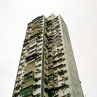 A highrise apartment block in from one of the older neighbourhoods of Macau.