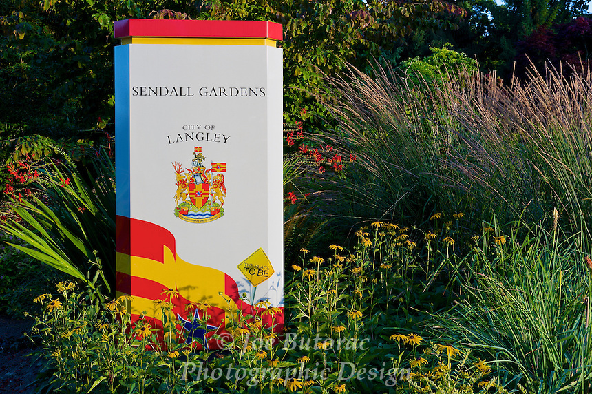 Sendall Gardens sign, City of Langley B.C.