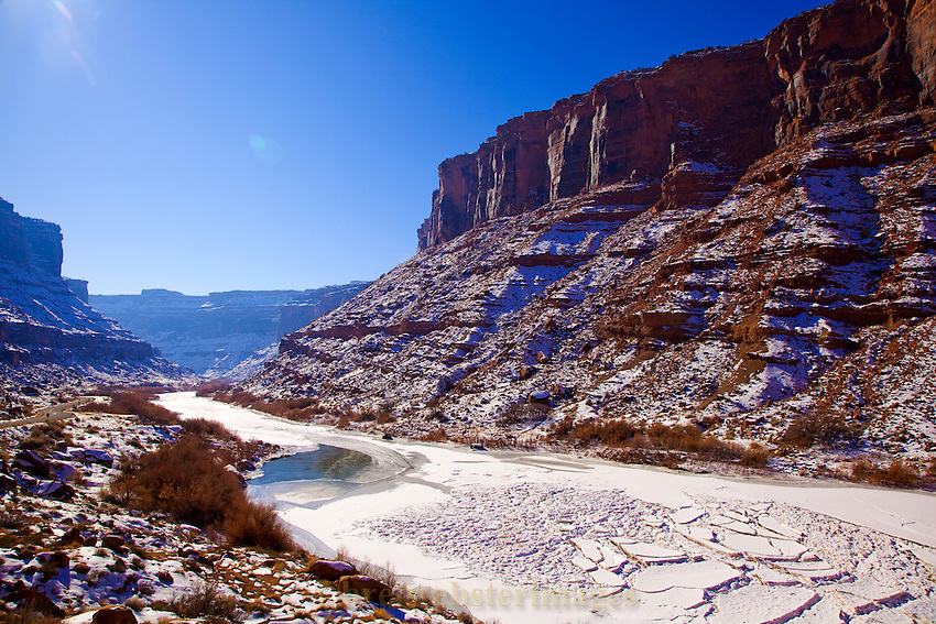 Ice on the Colorado River Near Moab