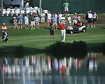 Robert Karlsson hits a shot on the 18th hole in a playoff at the PGA FedEx St. Jude Classic at TPC Southwind in Memphis, Tenn. on Sunday, June 12, 2011. Harrison Frazar won the tournament on the third playoff hole against Robert Karlsson. The victory was Frazar's first ever on the PGA tour.