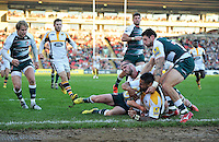 Frank Halai of Wasps reaches for the try-line. Aviva Premiership match, between Leicester Tigers and Wasps on November 1, 2015 at Welford Road in Leicester, England. Photo by: Patrick Khachfe / Onside Images