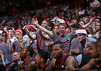 Ohio State students react to a call by an official in the first half of the college basketball game between the Ohio State Buckeyes and the Maryland Terrapins at the Jerome Schottenstein Center in Columbus, Wednesday evening, December 4, 2013. As of half time the Ohio State Buckeyes led the Maryland Terrapins 43 - 26. (The Columbus Dispatch / Eamon Queeney)