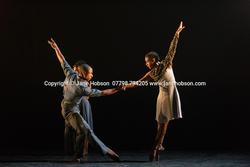 Ballet Black presents a triple bill of work at the Barbican Theatre. The piece shown is: Captured, choreographed by Martin Lawrance. The dancers are: Jose Alves, Isabela Coracy, Cira Robinson, Mthuthuzeli November.