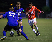 The number 24 ranked Furman Paladins took on the number 20 ranked Clemson Tigers in an inter-conference game at Clemson's Riggs Field.  Furman defeated Clemson 2-1.  Amadou Dia (11), Clint Ritter (8), Eric Steber (27)