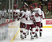Tyler Moy (Harvard - 2), Lewis Zerter-Gossage (Harvard - 77) - The Harvard University Crimson defeated the St. Lawrence University Saints 6-3 (EN) to clinch the ECAC playoffs first seed and a share in the regular season championship on senior night, Saturday, February 25, 2017, at Bright-Landry Hockey Center in Boston, Massachusetts.