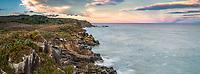 Sunrise over wild and remote coastline near Charleston near Westport, Buller region, West Coast, New Zealand, NZ