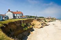 Eroded shoreline at Happisburgh, Norfolk, United Kingdom