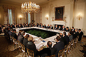 United States President Barack Obama meets with his Council on Jobs and Competitiveness, group of business leaders tapped to come up with job-spurring ideas, in the State Dining Room at the White House January 17, 2012 in Washington, DC. Headed by General Electric CEO Jeffrey Imelt, the council released a report with suggestions, including investment in education and research and development, support for the manufacturing sector and reform in the tax and regulatory systems. .Credit: Chip Somodevilla / Pool via CNP