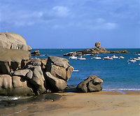 France, Brittany, Tregastel Plage: rock formation and beach on the Pink Granite Coast