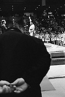 A Young Rikishi Sumo wrestler takes the honour salute on behalf of all the wanpaku wrestlers, during the opening ceremony...450 children, aged between 11-14, qualified for  the All Japan Wanpaku Sumo Tournament. The  Ryogoku Kokugikan Stadium, Tokyo, Japan.