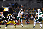 PITTSBURGH, PA - JANUARY 23: Mark Sanchez #6 of the New York Jets passes against the Pittsburgh Steelers in the AFC Championship Playoff Game at Heinz Field on January 23, 2011 in Pittsburgh, Pennsylvania. The Steelers defeated the Jets 24 to 19.(Photo by: Rob Tringali) *** Local Caption *** Mark Sanchez