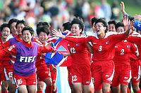 Jubilent Korean players. USA v Korea DPR. FIFA U-17 Women's World Cup Final. North Harbour Stadium, Auckland, Sunday 16 October 2008. Photo: Simon Watts/PHOTOSPORT