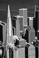 aerial photograph Transamerica Pyramid, Embarcadero West, 275 Battery Street, Spear Street Tower, Embarcadero Center, One California Street skyscrapers San Francisco