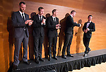 St Johnstone FC Scottish Cup Celebration Dinner at Perth Concert Hall...01.02.15<br /> The players are applauded as they enter the main auditorium at the Concert hall one by one, pictured from left, Alan Mannus, Frazer Wright, Steven Anderson, Brian Easton and Chris Millar.<br /> Picture by Graeme Hart.<br /> Copyright Perthshire Picture Agency<br /> Tel: 01738 623350  Mobile: 07990 594431