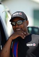 May 19, 2012; Topeka, KS, USA: NHRA top fuel dragster driver Antron Brown during qualifying for the Summer Nationals at Heartland Park Topeka. Mandatory Credit: Mark J. Rebilas-