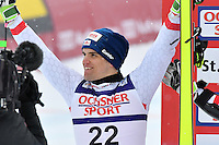 February 17, 2017: Roland LEITINGER (AUT) celebrates his silver medal in the men's giant slalom event at the FIS Alpine World Ski Championships at St Moritz, Switzerland. Photo Sydney Low