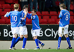 St Johnstone v Kilmarnock..28.12.11   SPL .Fran Sandaza celebrates his first goal with Jody Morris, Liam Craig and Murray Davidson;.Picture by Graeme Hart..Copyright Perthshire Picture Agency.Tel: 01738 623350  Mobile: 07990 594431