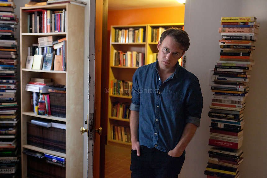 """Author Joshua Cohen at his home in the Red Hook neighborhood of Brooklyn, whose new novel Book of Numbers has been called """"the Great American Internet Novel."""""""