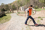 Durham, North Carolina - Wednesday March 30, 2016 - HUB Farm project manager Katherine Gill takes measurements at the farm while designing an area intended to be a relaxing, enclosed sitting area.