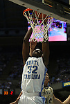 08 November 2008: North Carolina's Ed Davis dunks the ball. The University of North Carolina Tarheels defeated the University of North Carolina at Pembroke Braves 102-62 at the Dean E. Smith Center in Chapel Hill, NC in an NCAA exhibition basketball game.