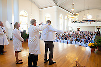 Christa Zehle, M.D., second from left, Dean Rick Morin, M.D. Class of 2016 White Coat Ceremony.