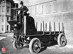 An Ansonia Brass employee driving a flatbed truck in 1911. Ansonia Brass later became part of the American Brass Co.