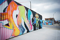 Graffiti style mural in the popular destination, the Williamsburg neighborhood of Brooklyn in New York on Sunday, August 3, 2014. © Richard B. Levine)