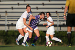 11 September 2016: High Point's Meredith Dunker (right) and Duke's Ashton Miller (left). The Duke University Blue Devils hosted the High Point University Panthers at Koskinen Stadium in Durham, North Carolina in a 2016 NCAA Division I Women's Soccer match. Duke won the match 4-1.