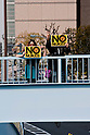 Tokyo, Japan - A photo made available on April 11 shows protestors holding up &quot;no nukes&quot; signs during a rally in downtown Tokyo in aims to shut down the Hamaoka Nuclear Power Plant, in Nagoya, Japan, 10 April 2011. Thousands of protestors demanded the immediate closure of the plant due to the nuclear crisis Japan is struggling with of the quake-hit Daiichi Nuclear Power Plant in Fukushima. The Hamaoka plant is built on top of the junction of tectonic plates in the Tokai area which is considered to be the area of concern for a major earthquake in the unforeseeable future. (Photo by Christopher Jue/AFLO) [2331]
