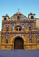 The famous folk baroque church in San Andres Xecul near the city of Quetzaltenango, Guatemala