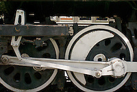 Driving wheels of a steam locomotive at the Museo Nacional de los Ferrocarriles Mexicanos or National Railway Museum in the city of Puebla, Mexico