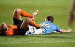 Dundee United v St Johnstone....21.11.15  SPFL,  Tannadice, Dundee<br /> Chris Kane is brough down by John Rankin for a penalty<br /> Picture by Graeme Hart.<br /> Copyright Perthshire Picture Agency<br /> Tel: 01738 623350  Mobile: 07990 594431