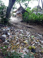 Garbage litters the back of small beach restaurants at &quot;White Sands&quot; beach just north of Candidasa. The beach is popular with tourists and sits in a beautiful bay, but there is no garbage system in place.