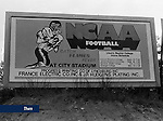 A 1981 billboard promoted the Flames Football season. Located in Lynchburg, this was one of the first billboards Liberty used to promote athletics. This marked the beginning of the Flames' transition to NCAA competition.