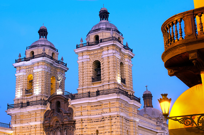 The twin towers of the Spanish baroque styled San Francisco Church and Monastery built in the late 1600's in historic downtown Lima, Peru.