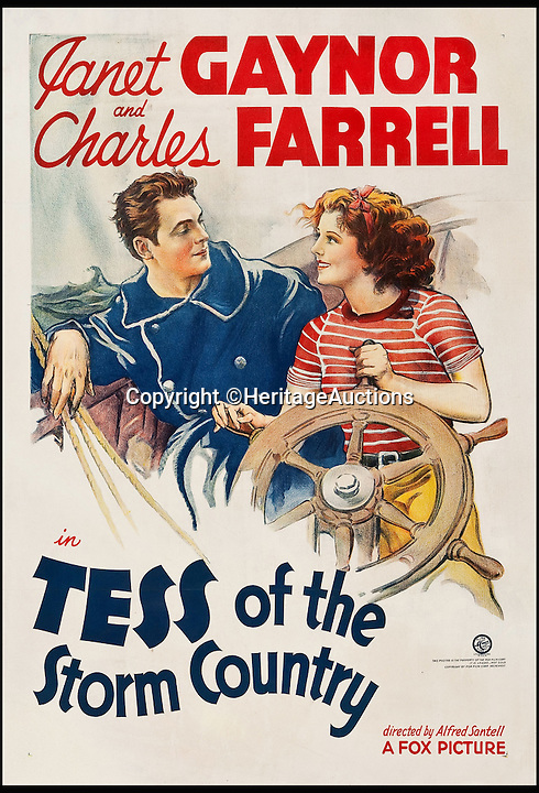 BNPS.co.uk (01202 558833)<br /> Pic: HeritageAuctions/BNPS<br /> <br /> Tess of the Storm Country (Fox, 1932) estimate $2,400.<br /> <br /> A lucky family is set to make a staggering &pound;160,000 after a hoard of old film posters they stumbled upon under the floor of their new home turned out to be 'lost' Hollywood relics.<br /> <br /> The prized stash of 17 perfectly preserved posters was discovered by Bob and Dylan Basta as they tore up the lino in the house their dad Robert was renovating. <br /> <br /> After calling in experts from leading auctioneers Heritage they found that among their treasure trove were five never-seen-before posters from the Golden Age of Hollywood.<br /> <br /> The collection is now tipped to fetch a whopping $240,000 - around &pound;160,000 - at Heritage Auctions in Dallas, Texas.