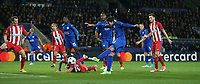 Leicester City's Leonardo Ulloa see this shot blocked<br /> <br /> Photographer Stephen White/CameraSport<br /> <br /> UEFA Champions League Quarter Final Second Leg - Leicester City v Atletico Madrid - Tuesday 18th April 2017 - King Power Stadium - Leicester <br />  <br /> World Copyright &copy; 2017 CameraSport. All rights reserved. 43 Linden Ave. Countesthorpe. Leicester. England. LE8 5PG - Tel: +44 (0) 116 277 4147 - admin@camerasport.com - www.camerasport.com