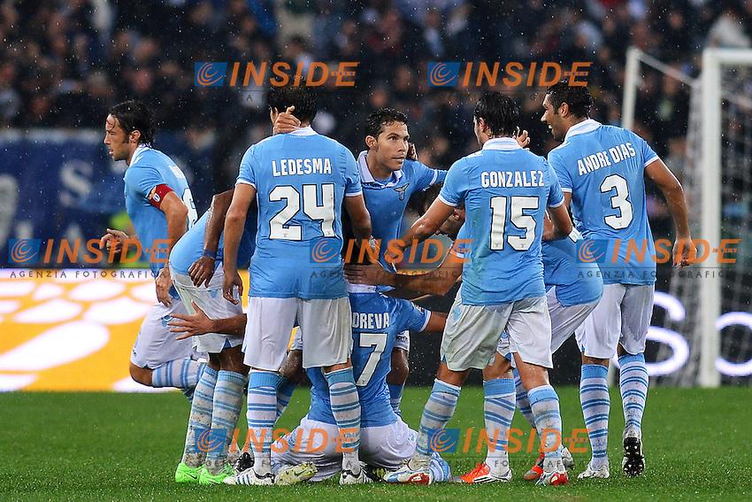 Esultanza Antonio Candreva dopo il gol Lazio .Roma 11/11/2012 Stadio Olimpico.Football Calcio 2012/2013 Serie A.Lazio Vs Roma.Foto Insidefoto Andrea Staccioli