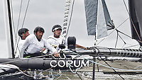PORTUGAL, Cascais. 6th August 2011. America's Cup World Series. Day 1. L-R, Peter Greenhalgh, Jean-Sebastien Ponce, Loick Peyron, ENERGY TEAM.