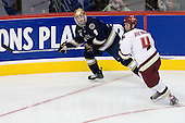 Ryan Thang (Notre Dame 9), Mike Brennan (BC 4) - The Boston College Eagles won the NCAA D1 national championship by defeating the University of Notre Dame Fighting Irish 4-1 in the final of the 2008 Frozen Four at the Pepsi Center in Denver, Colorado on Saturday, April 12, 2008.