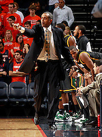 CHARLOTTESVILLE, VA- DECEMBER 6: Head coach Paul Hewitt of the George Mason Patriots reacts to a call during the game on December 6, 2011 against the Virginia Cavaliers at the John Paul Jones Arena in Charlottesville, Virginia. Virginia defeated George Mason 68-48. (Photo by Andrew Shurtleff/Getty Images) *** Local Caption *** Paul Hewitt