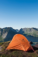 Scenic campsite on Reinebringen mountain peak, Reine, Lofoten islands, Norway
